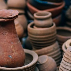 various clay pots and dishes