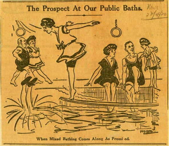 Cartoon of mixed bathing, woman diving