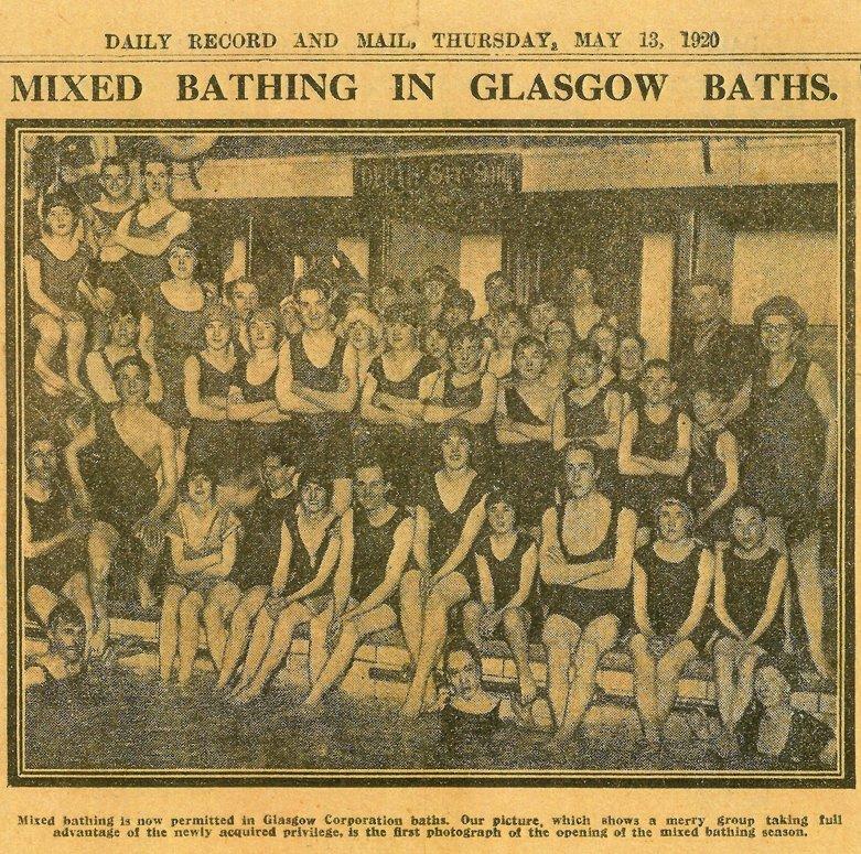Newspaper clipping: Mixed bathing in Glasgow baths