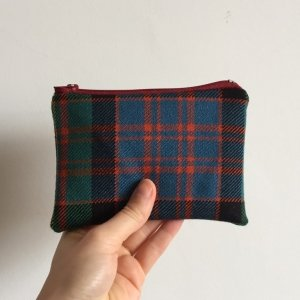Blue and green tartan purse
