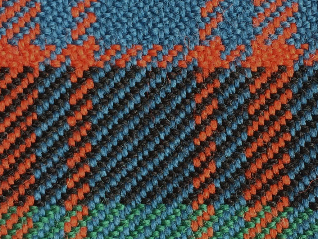 Blue and green tartan purse close up