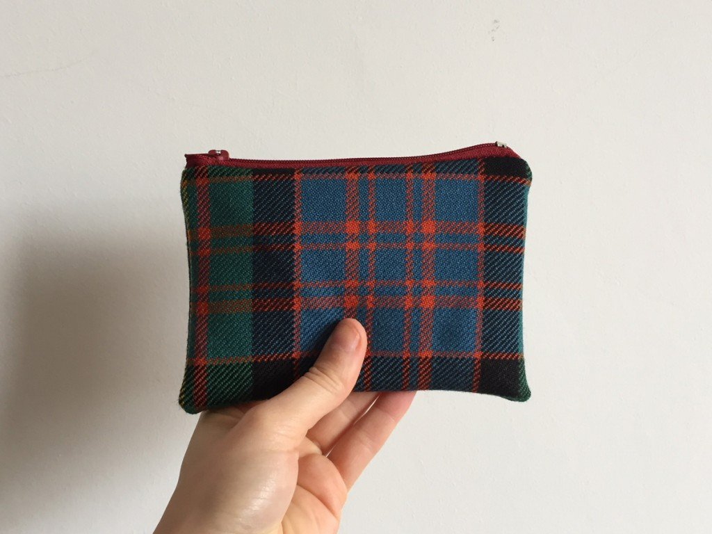 Blue and green tartan purse
