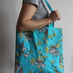 Blue merry-go-round tote bag