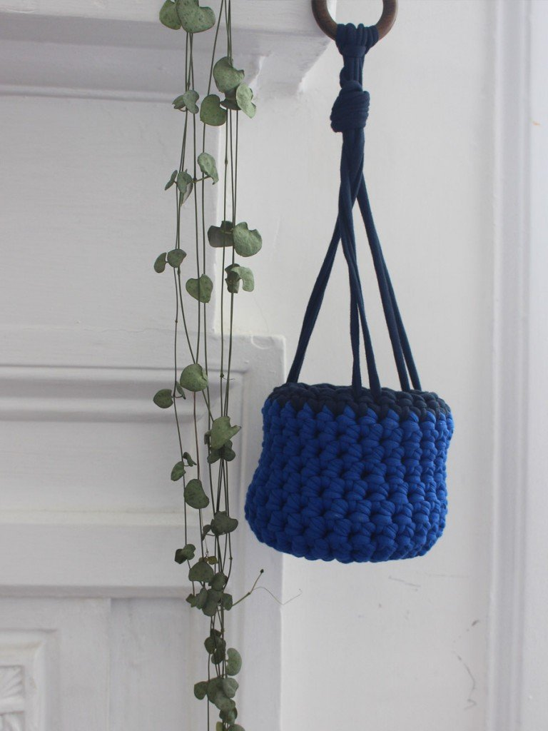 Dark blue hanging basket lifestyle
