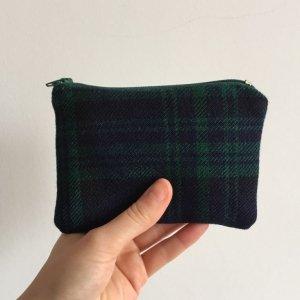 Dark blue tartan purse