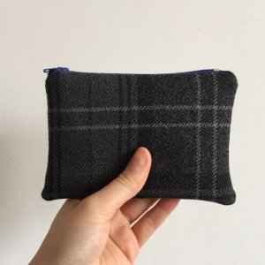 Dark grey tartan purse dark blue zip
