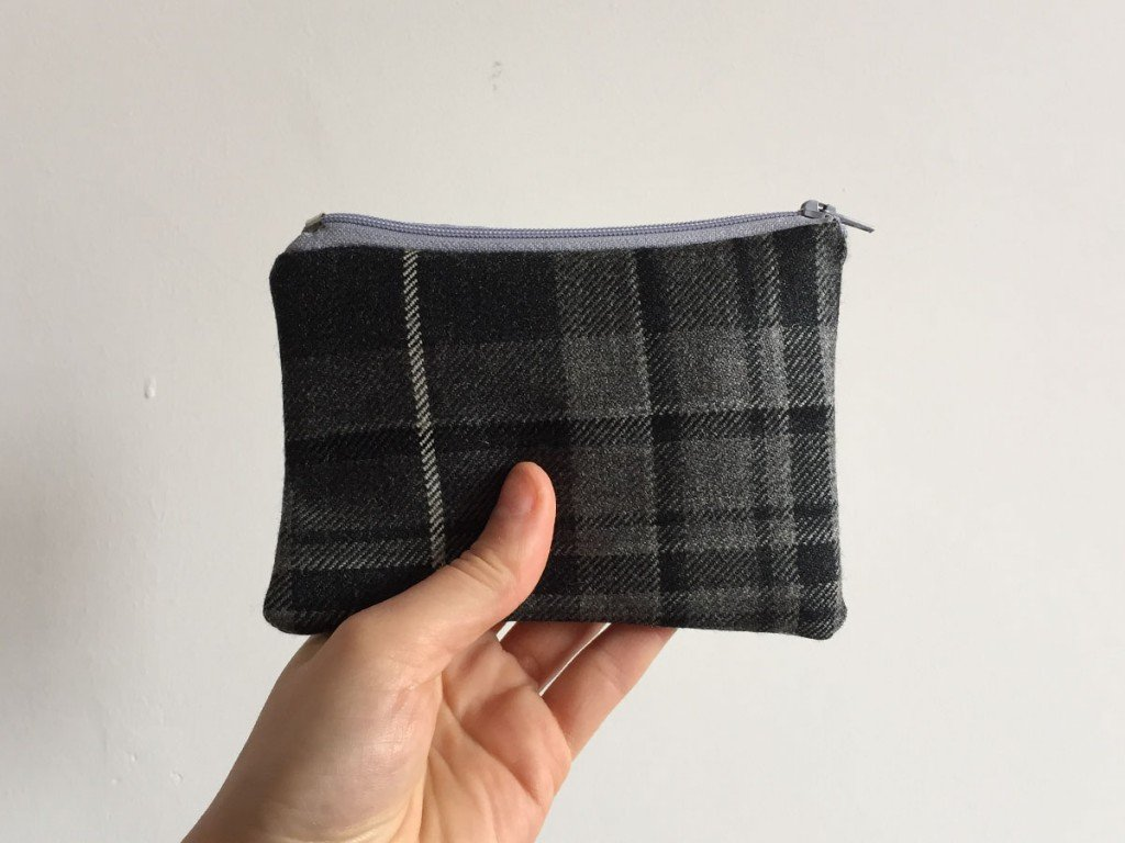 Dark grey tartan purse light blue zip