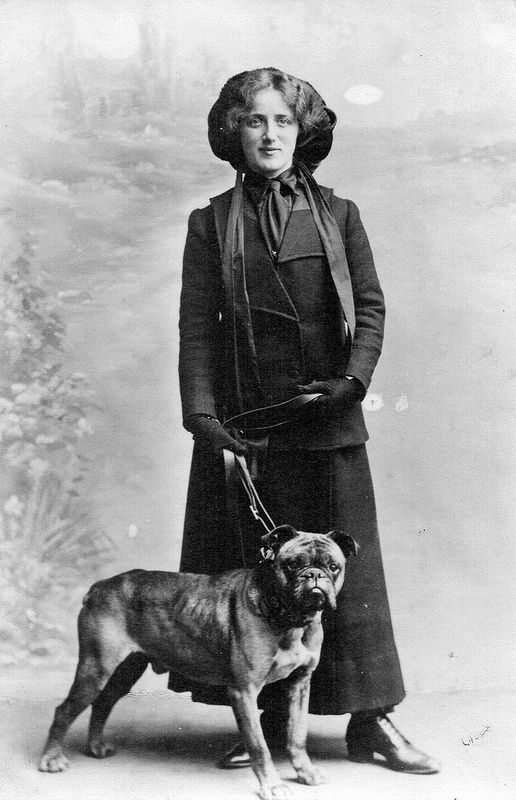 Woman with dog on lead