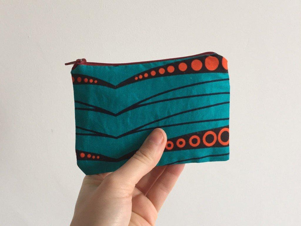 Electric blue batik purse red zip