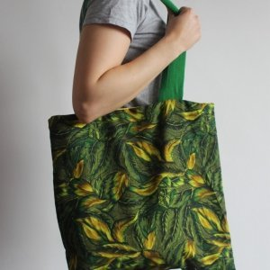 Jungle tote bag green handle