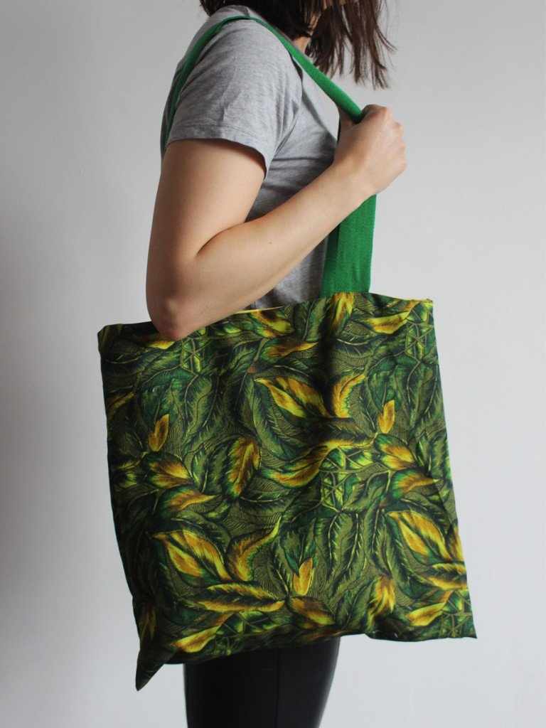 Jungle tote bag green handle