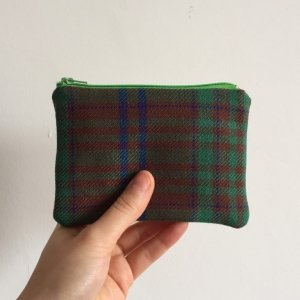 Light green tartan purse