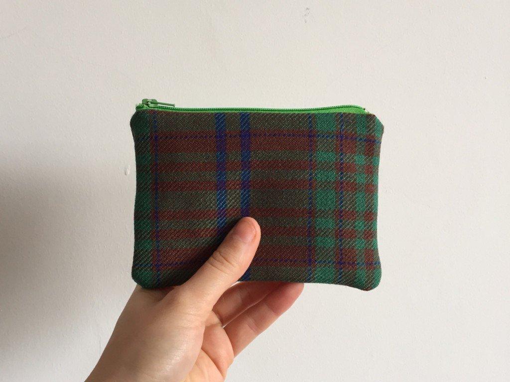 Light green tartan purse