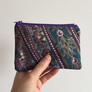 Paisley purse purple zip