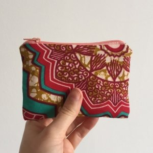 Pink Batik Purse light pink Zip