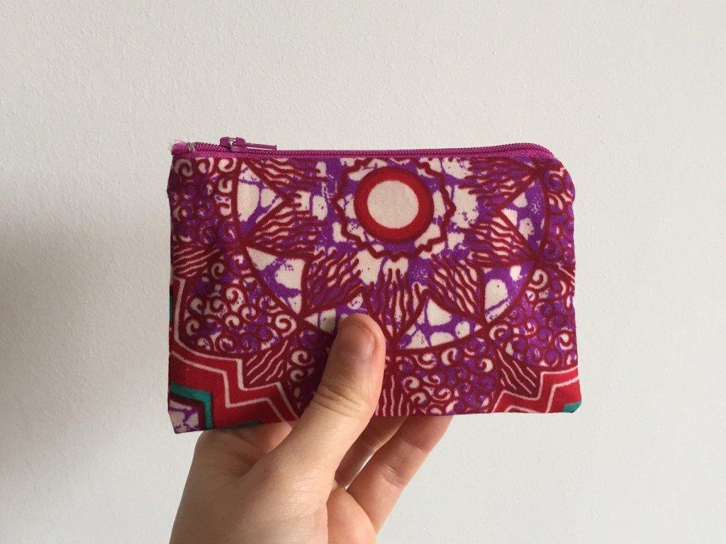 Pink Batik Purse light purple Zip