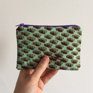 Turquoise and brown purse purple zip