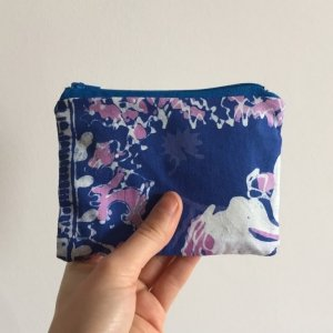 blue and purple hawaiian purse