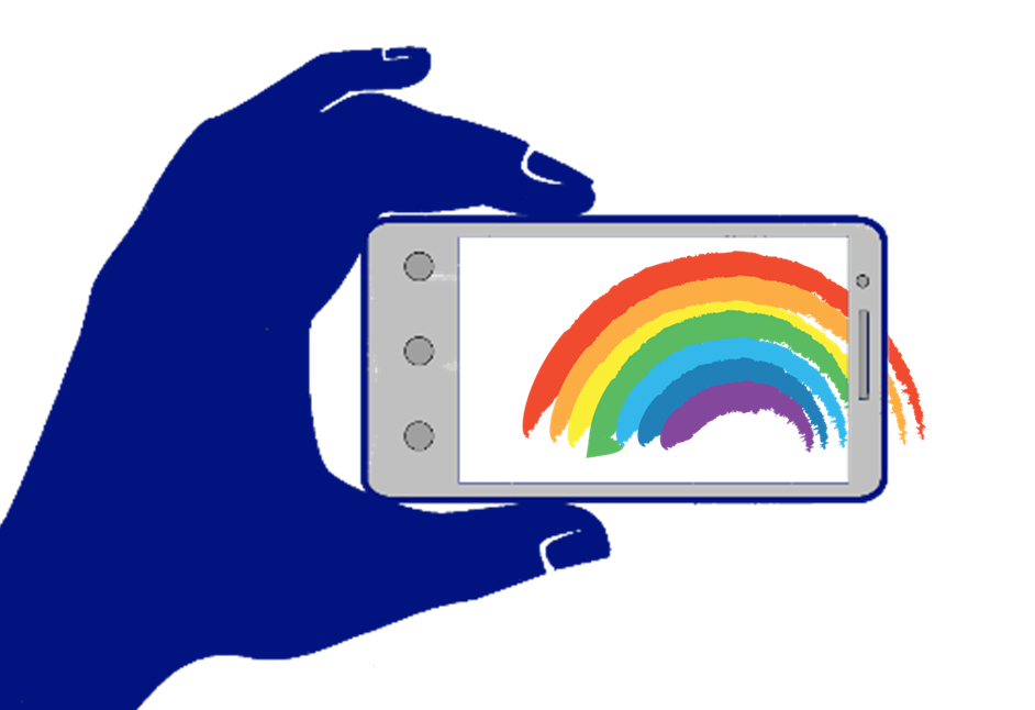 Illustration: Smartphone photographing rainbow