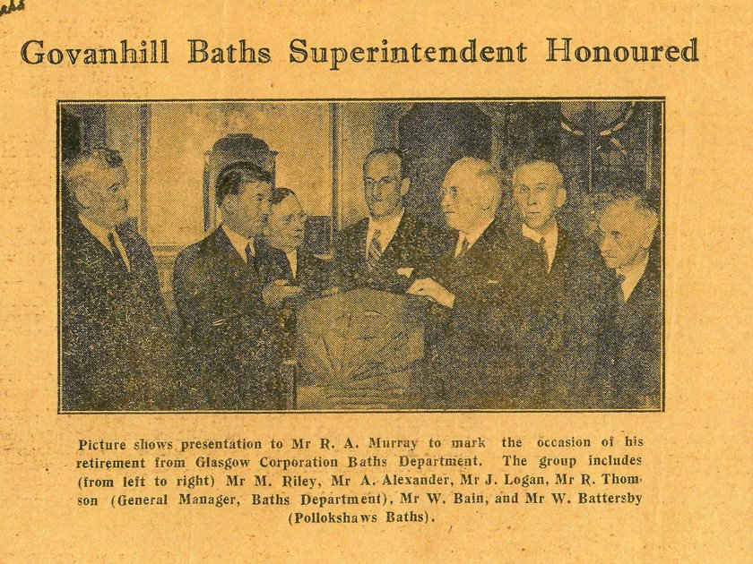Newspaper clipping: Govanhill Baths Superintendent Honoured
