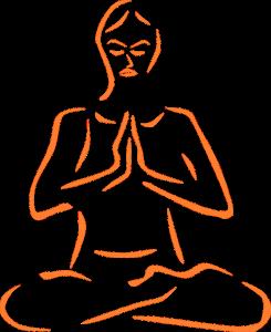 Illustration practising yoga
