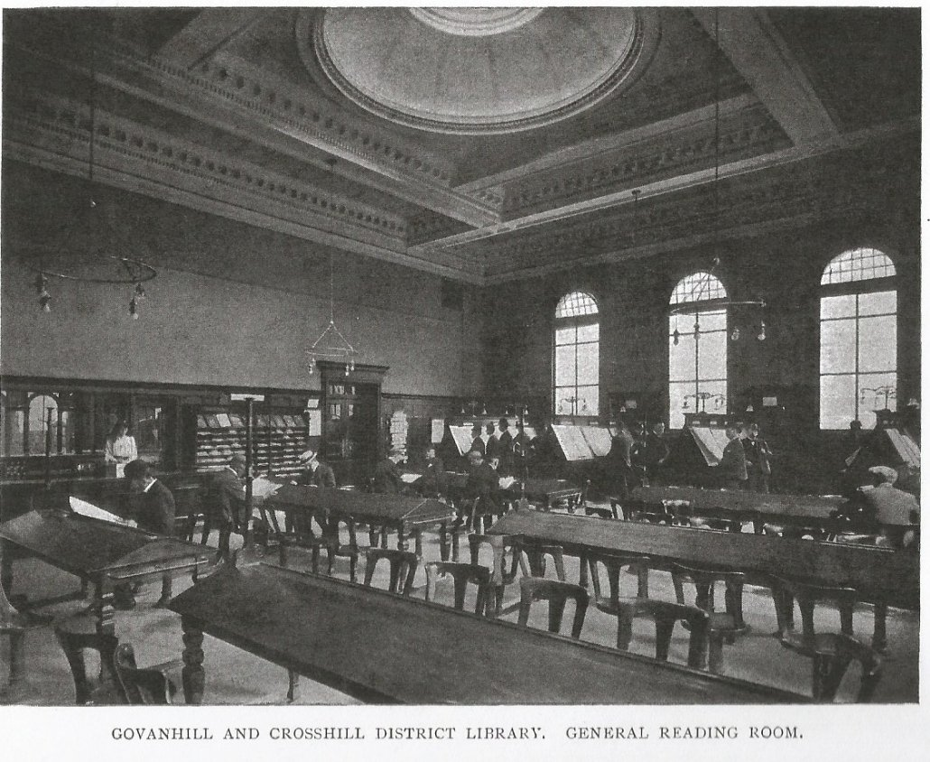 Black and white archival photograph of library interior