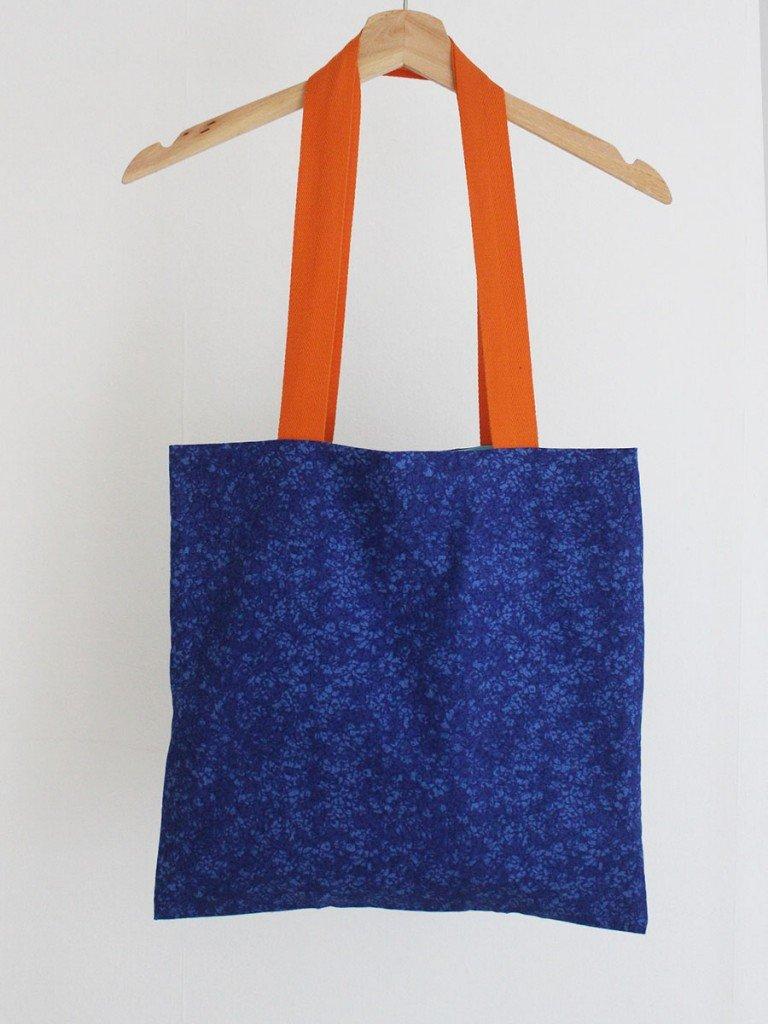 blue and orange tote bag