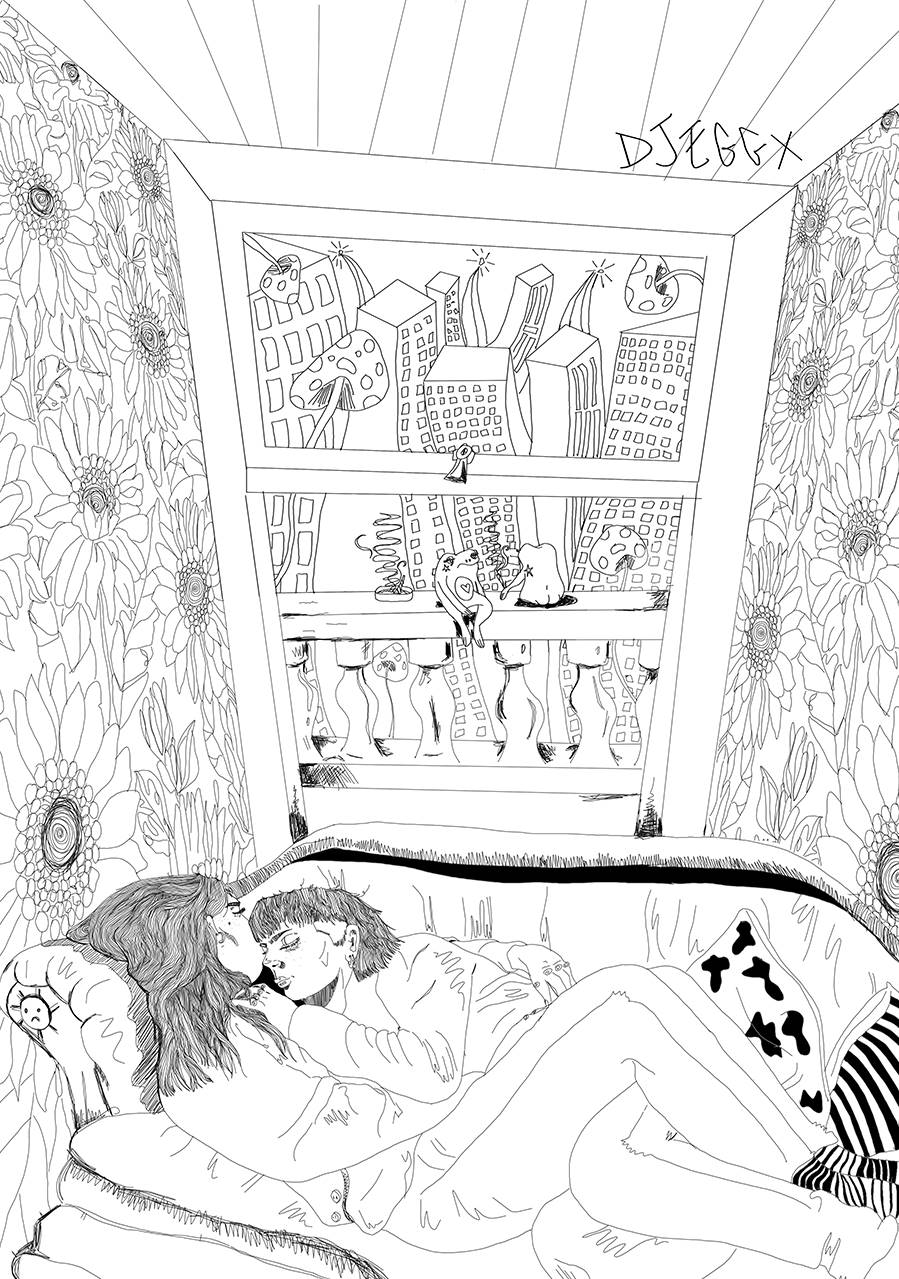 Line drawing of two people embracing on a sofa