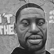 """Graffiti portrait of George Floyd with text """"I can't breathe"""""""